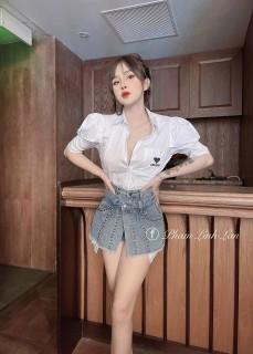 [HCM]quần short jean nữ giả váy đính đá phối hai đai kiểu dáng mới lạ cá tính m534 thumbnail
