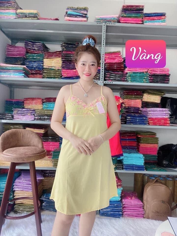 Đầm ngủ thun lạnh phối ren xinh kiểu dáng 2 dây ren viền ngực quyến rũ, thoáng mát co giãn 4 chiều