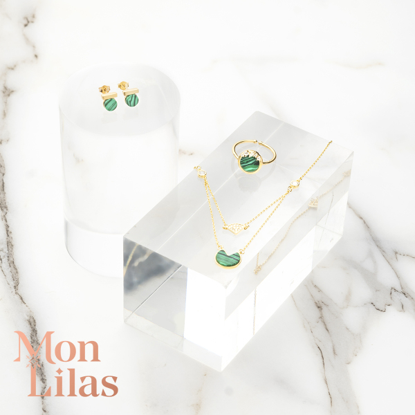 Bộ Trang Sức Nữ Bạc Ý Phủ Vàng 18K Quý Phái Mon Lilas B032