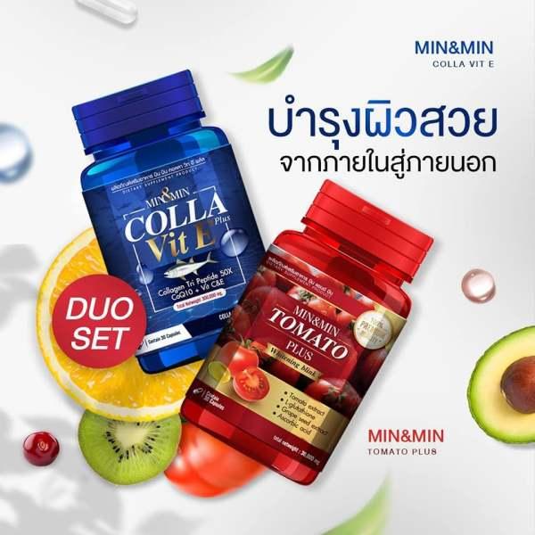 Combo Viên Uống Trắng Da Tomato Plus Và Colla Vit E Chính Hãng Thái Lan 60 viên giá rẻ