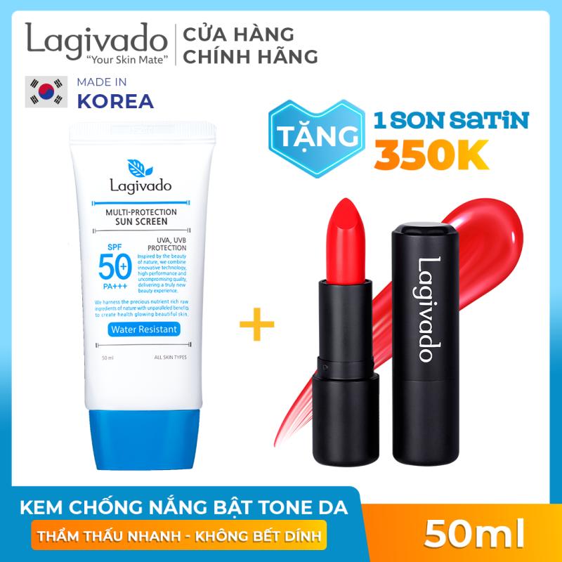 Kem chống nắng dưỡng trắng giúp bảo vệ da dành cho da bóng dầu, dễ nổi mụn, đi bơi, đi biển Hàn Quốc Lagivado Water Resistant 50 gram nhập khẩu