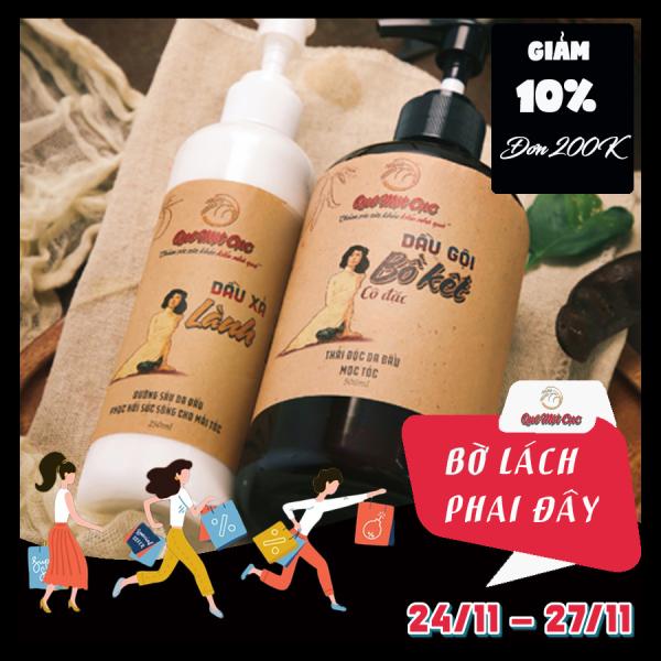 Bộ dầu gội bồ kết cô đặc, dầu xả dưỡng tóc mềm, dày sợi, chắc khỏe QUÊ MỘT CỤC 750ml (đen - trắng)