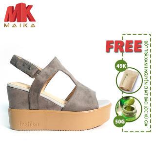 Xăng đan xuồng nữ MK MAIKA cao10 phân S112 Xám phù hợp đi làm, đi tiệc, đi chơi, dạ hội + Tặng Bột Trà Xanh Nguyên Chất Vũ Gia (50g/ túi)