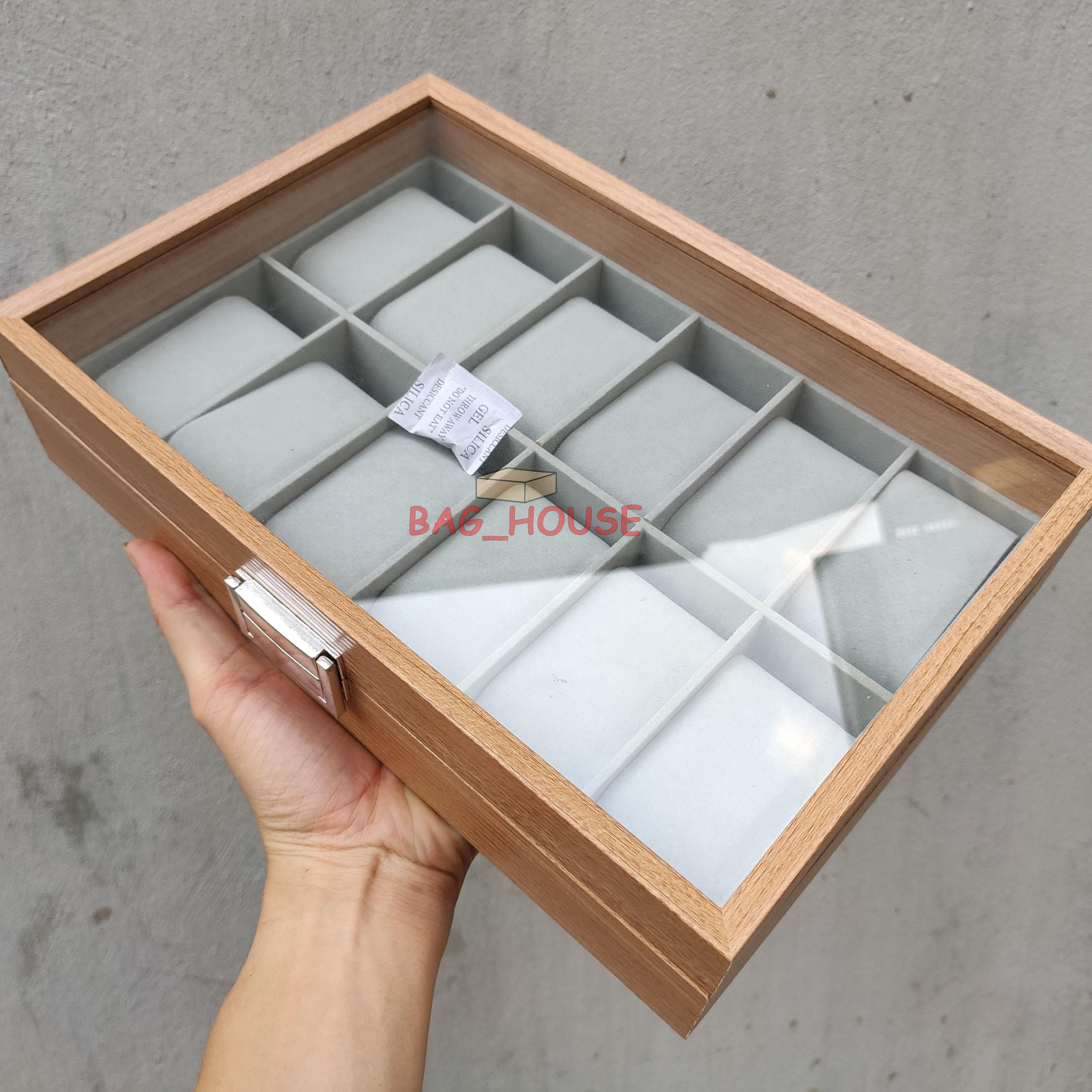 Nơi bán Hộp trưng bày đồng hồ 12 ngăn - Hộp đựng đồng hồ - Hộp gỗ trưng bày đồng hồ 12 ngăn