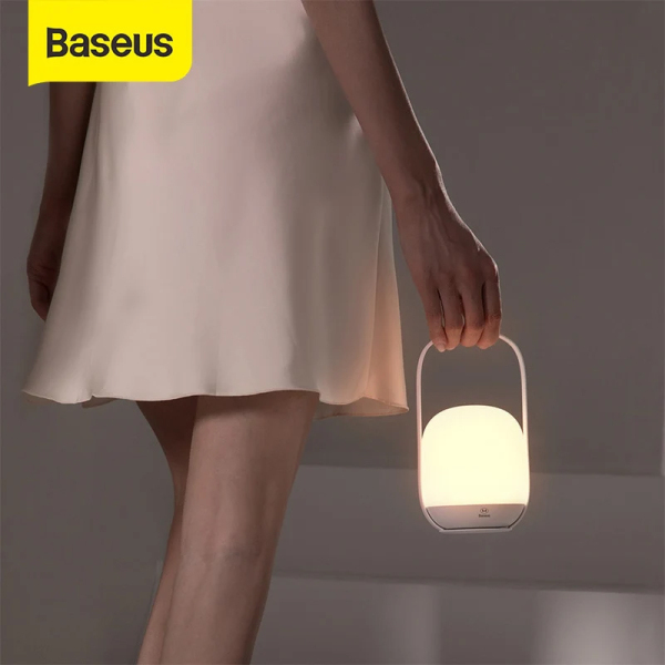 Đèn ngủ cầm tay Baseus Moon-White Stepless tích hợp 3 chế độ sáng và thay thế đèn làm việc