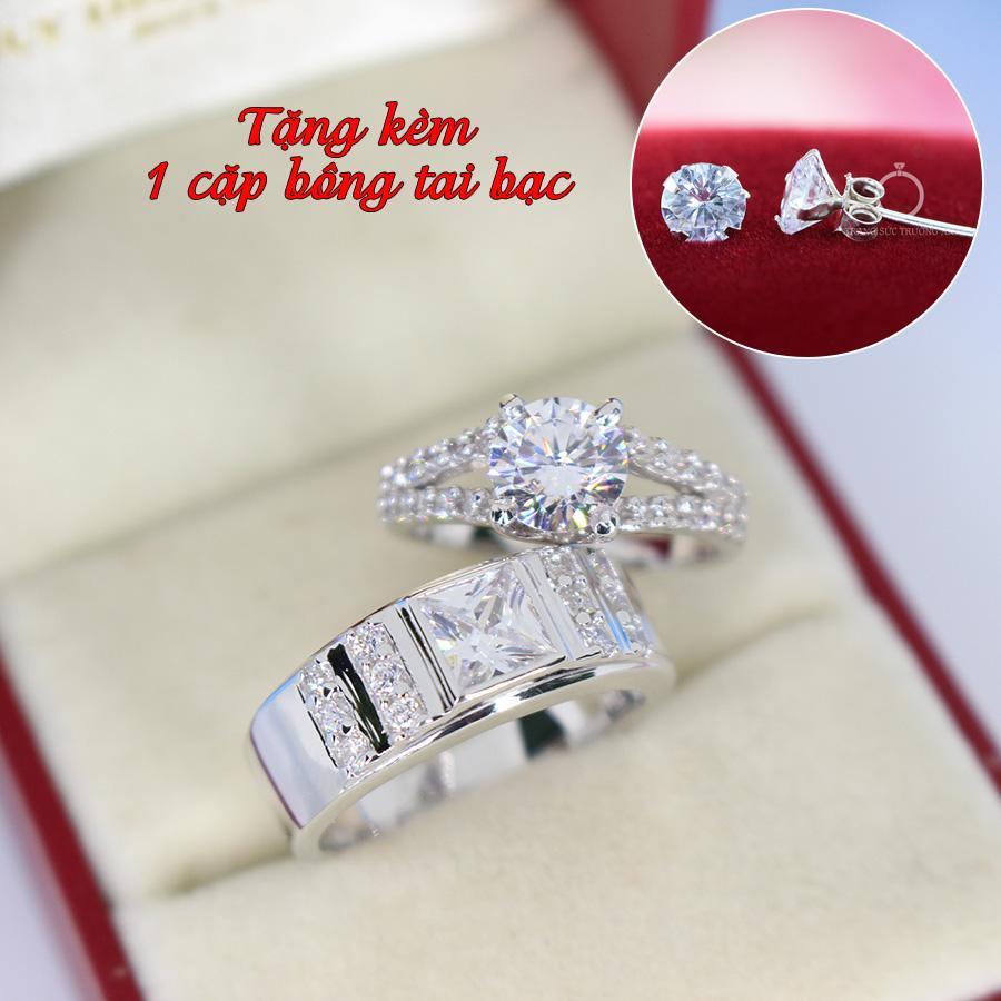 Nhẫn đôi bạc nhẫn cặp bạc đẹp đính đá tinh tế ND0296 - Trang Sức Trường An
