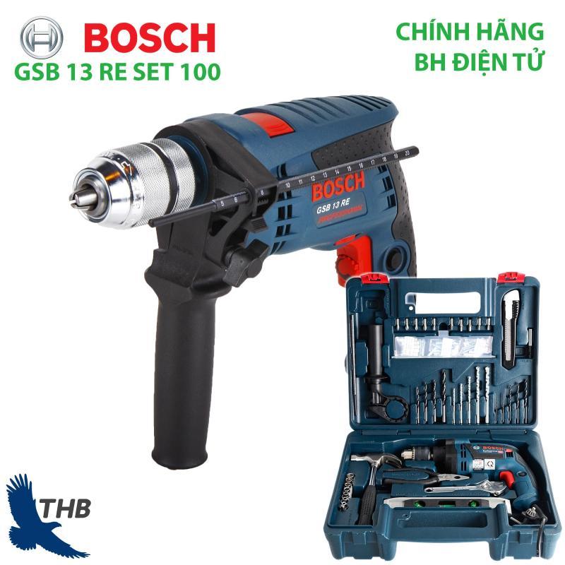 Bộ máy khoan gia đình Khoan động lực Bosch GSB 13 RE SET Xuất xứ Malaysia Hộp nhựa phụ kiện 100 món