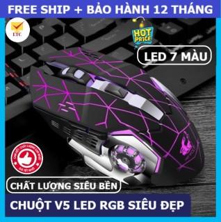 Chuột gaming led tự động đổi màu siêu đẹp V5, mouse chơi game máy tính, laptop, pc chỉnh được DPI, thiết kế có dây, chiến mọi tựa game lol, pubg đột kích thumbnail
