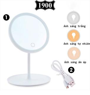 Gương trang điểm để bàn đèn LED cao cấp, Gương trang điểm 3 chế độ ánh sáng, Cáp sạc USB, Màn hình cảm ứng thumbnail