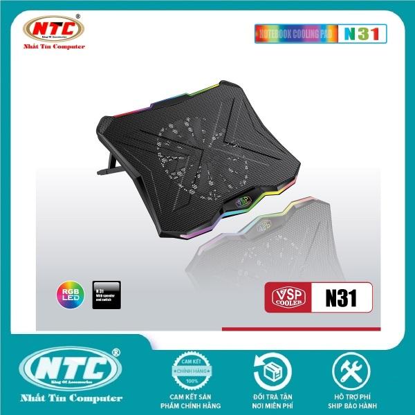 Bảng giá Đế tản nhiệt VSP COOLER N31 cho laptop từ 10 đến 18 Led RGB (Đen) - Nhất Tín Computer Phong Vũ