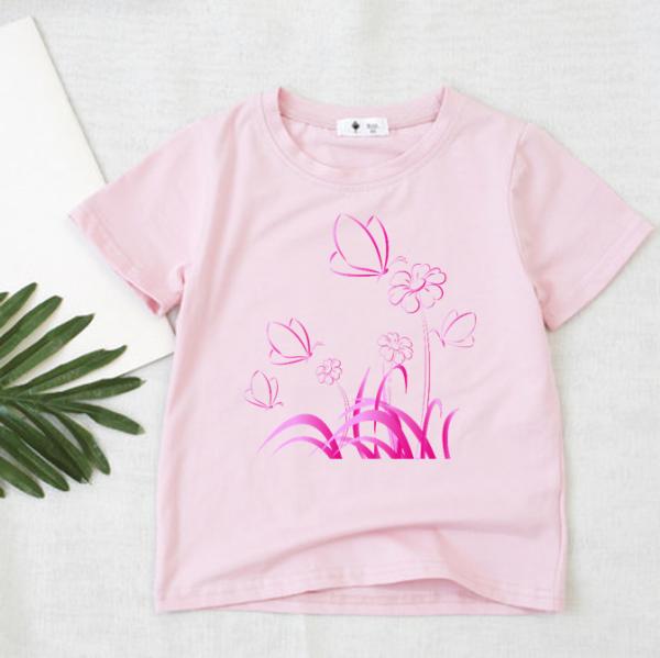áo thun Bé gái loại 1   chất cotton   Thoáng Mát   6-45kg   bướm và hoa  