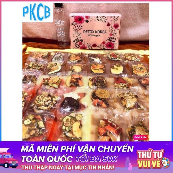 Hộp 30 Set Gói Trà Detox hoa quả sấy khô giảm cân, DETOX KOREA (ảnh thật) tặng kèm bình nhựa 1000ml - PKCB