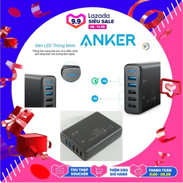 SẠC ANKER 5 CỔNG 63W/A2054 / 2 CỔNG SẠC QUICK CHARGE 3.0