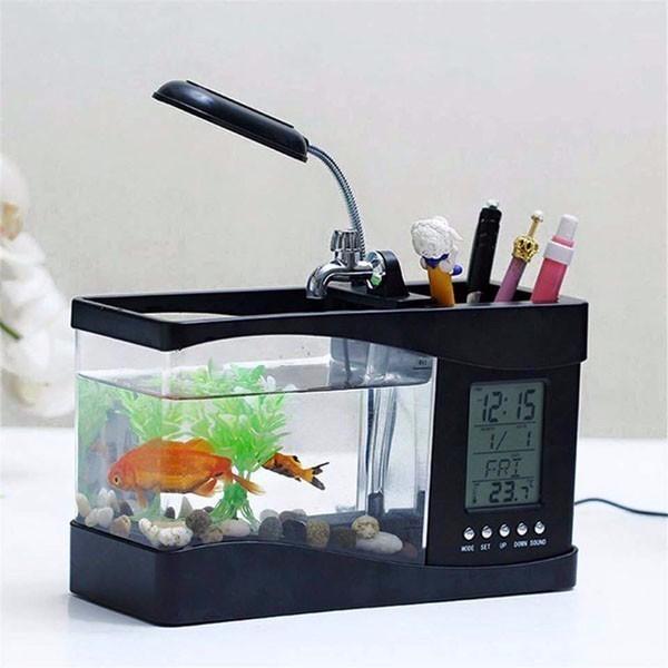 Bể cá mini phong thủy để bàn, thiết kế nhỏ gọn, sang trọng, màn hình LCD hiển thị thời gian, nhiệt độ, ngày tháng