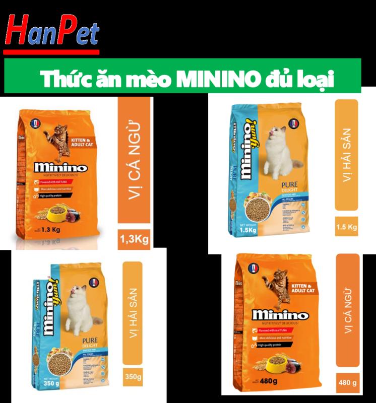 HCM- Thức ăn hạt phẩm chất Pháp Quốc cho mèo mọi lứa tuổi Minino thức ăn me-o vị cá ngừ và hải sản