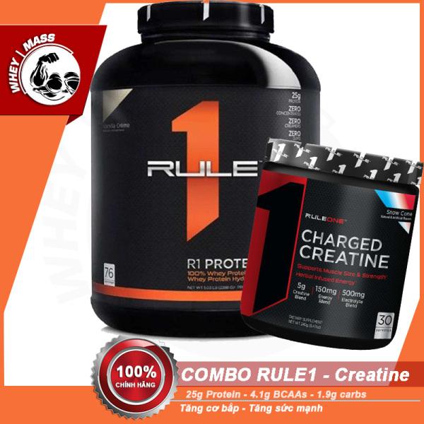 [COMBO] TĂNG CƠ BẮP TĂNG SỨC MẠNH HỒI PHỤC CƠ BẮP Rule1 Protein 5lbs Và Creatine Charged (30 lần dùng) - Từ Mỹ cao cấp