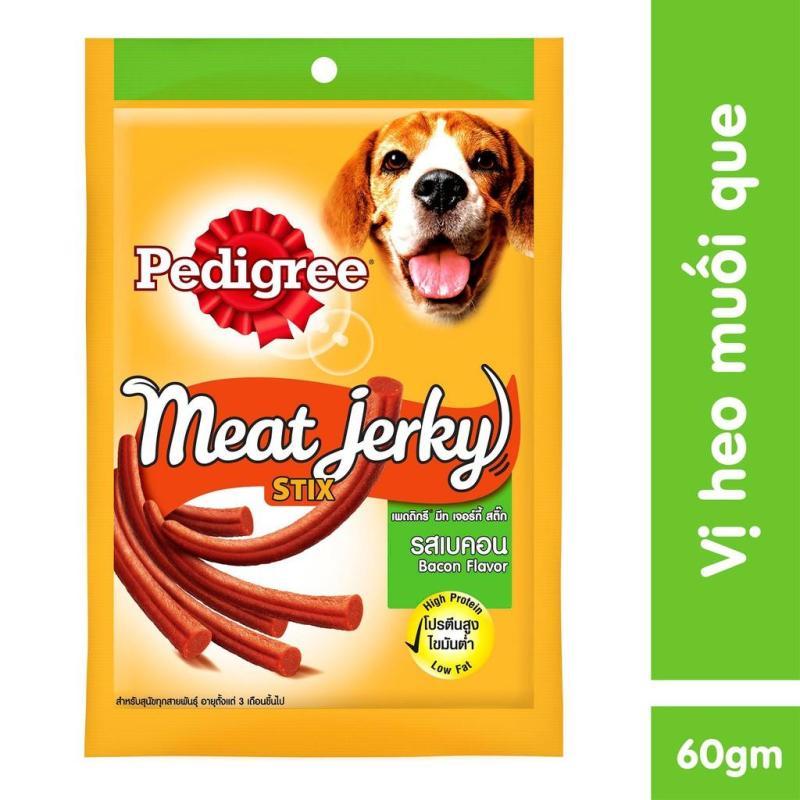 Thức ăn vặt cho chó Pedigree Meat Jerky vị heo muối dạng que 60g
