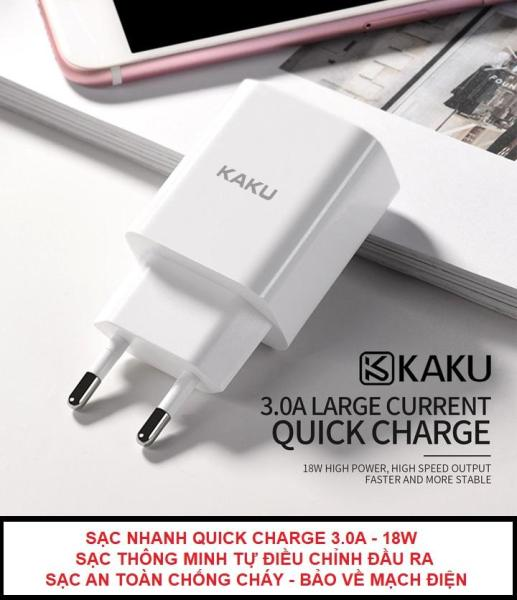 Giá Cốc sạc nhanh Quick Charge 3.0A 18W KAKU - Hàng hãng - Chống cháy nổ - Cách nhiệt - Củ sạc nhanh KAKU QC3.0 cục sạc nhanh dock sạc cục sạc đồ sạc đầu sạc điện thoại