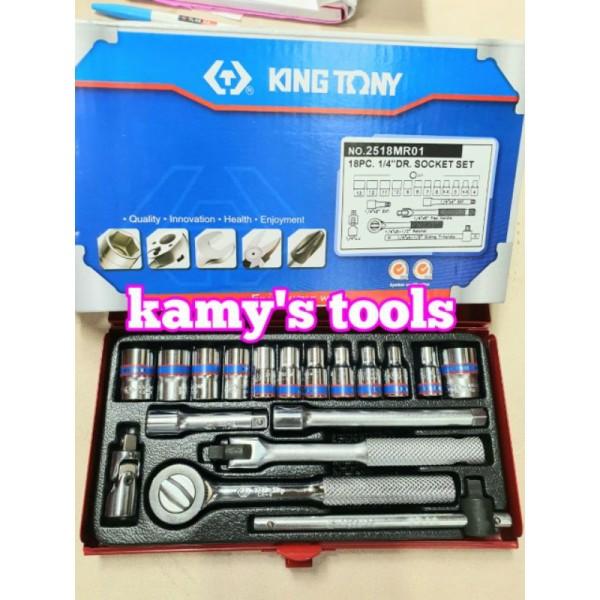 Bộ tuýp 18 chi tiết hệ mét kingtony 2518MR 1/4 inch 4-13mm