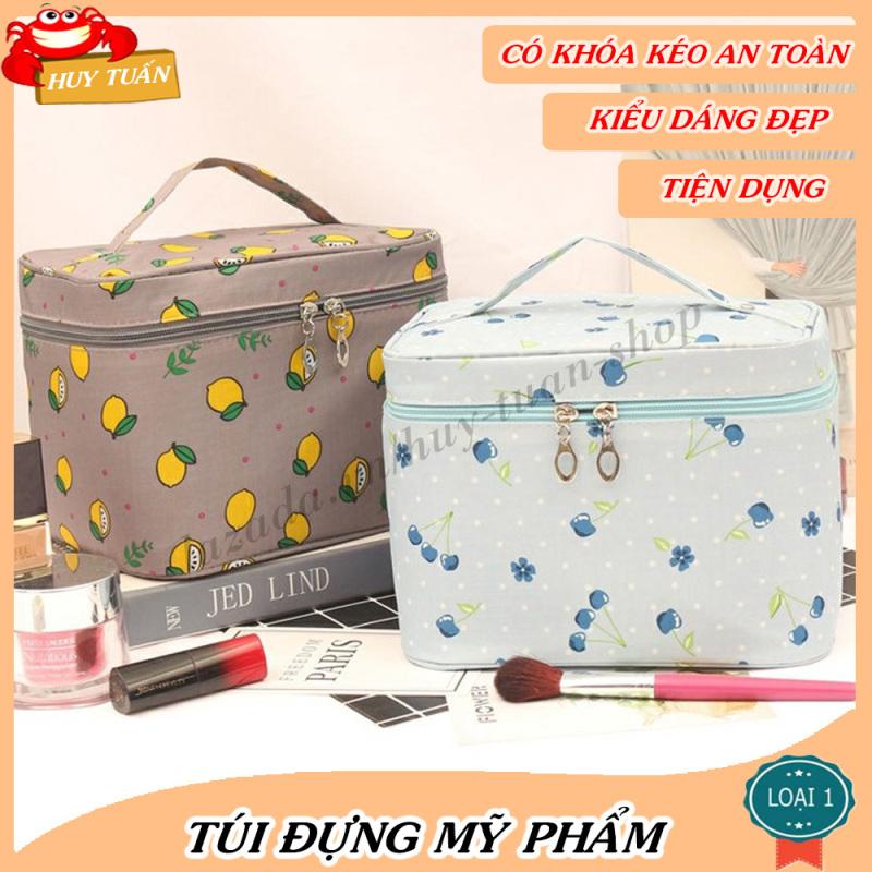 Túi đựng mỹ phẩm đồ trang điểm xách tay hình hộp (THH10), giỏ mỹ phẩm du lịch Huy Tuấn