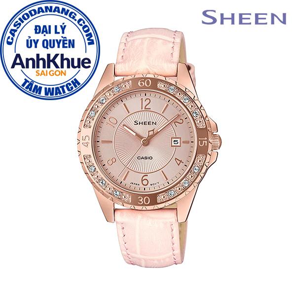 Đồng hồ nữ dây da Casio Sheen chính hãng Anh Khuê SHE-4532PGL-4AUDF (35mm)