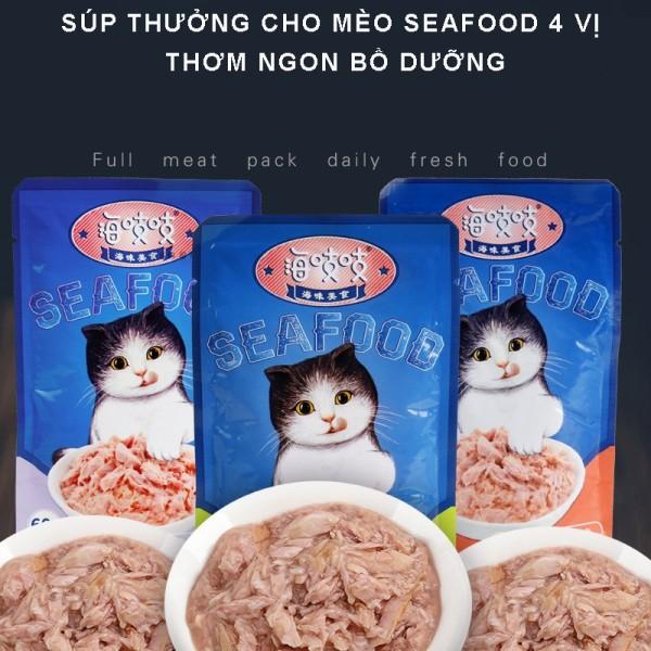 Súp thưởng cho mèo SEAFOOD 4 vị thơm ngon , bổ dưỡng dành cho thú cưng- 60g csp40