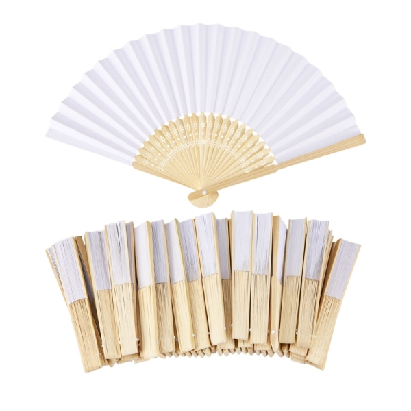50 pcs/lot White Folding Elegant Paper Hand Fan Wedding Party Favors 21cm(white) Singapore
