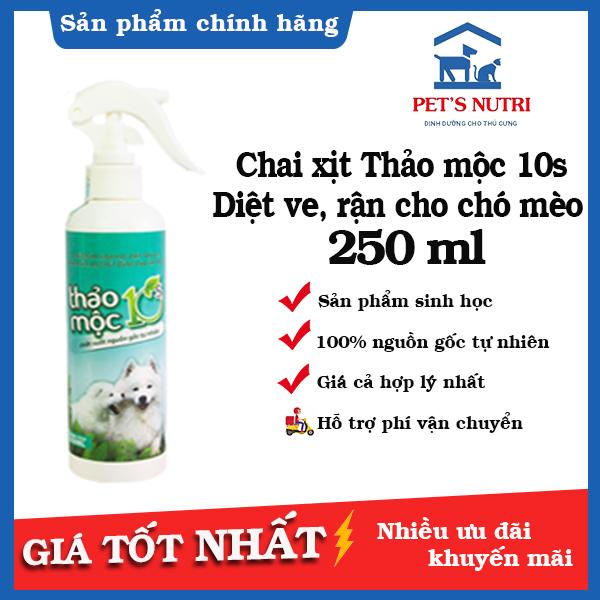 Bình xịt diệt ve, rận, khử trùng cho chó mèo 250ml Thảo mộc 10s - Tinh dầu tự nhiên 100%, An toàn hiệu quả