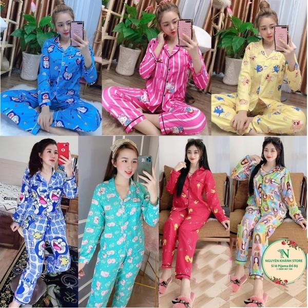 Đồ Bộ Pijama Tay Dài Vải Kate Mềm Mại Freesize Dưới 56Kg