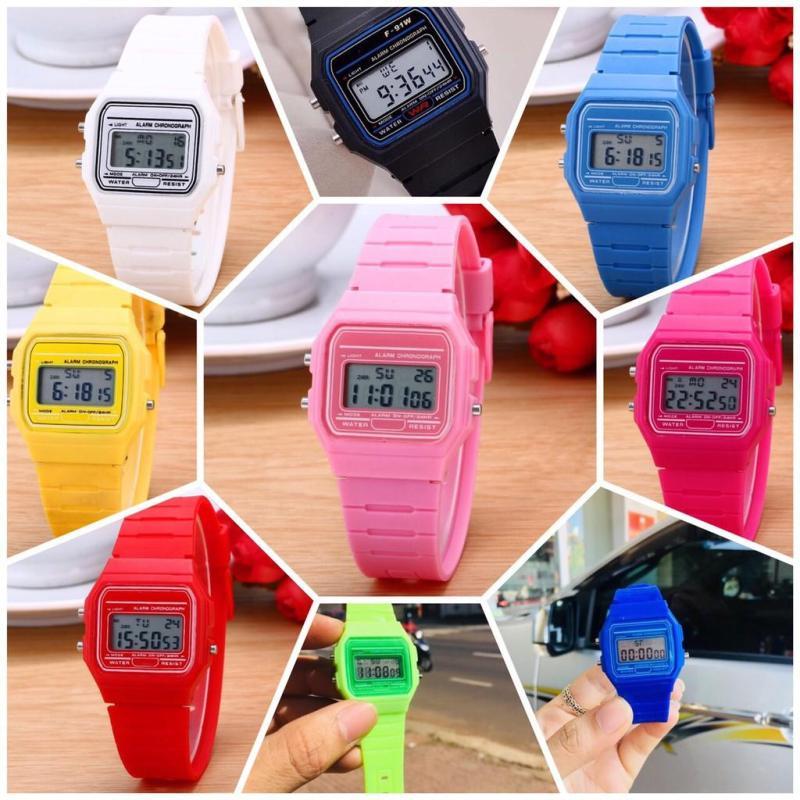 Đồng hồ điện tử nam nữ Casi WR full chức năng & có báo thức - mặt đồng hồ theo màu dây