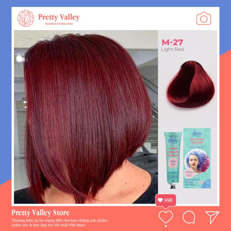 Kem nhuộm tóc cao cấp màu đỏ vang sáng Molokai 60ml [ TẶNG KÈM GĂNG TAY + CHAI OXY TRỢ DƯỠNG TÓC ] giá rẻ