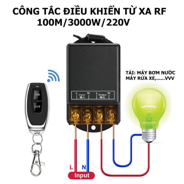 [MẪU MỚI NHẤT 2020] Công tắc điều khiển từ xa 100m/3000W/220V-điều khiển từ xa máy bơm nước, máy rửa xe công suất lớn