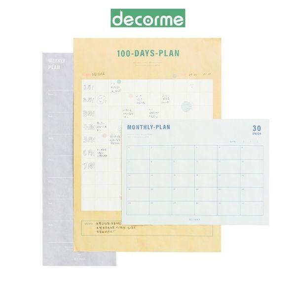 Lịch kế hoạch, lịch planner dán tường kèm sticker dụng cụ văn phòng phẩm DecorMe