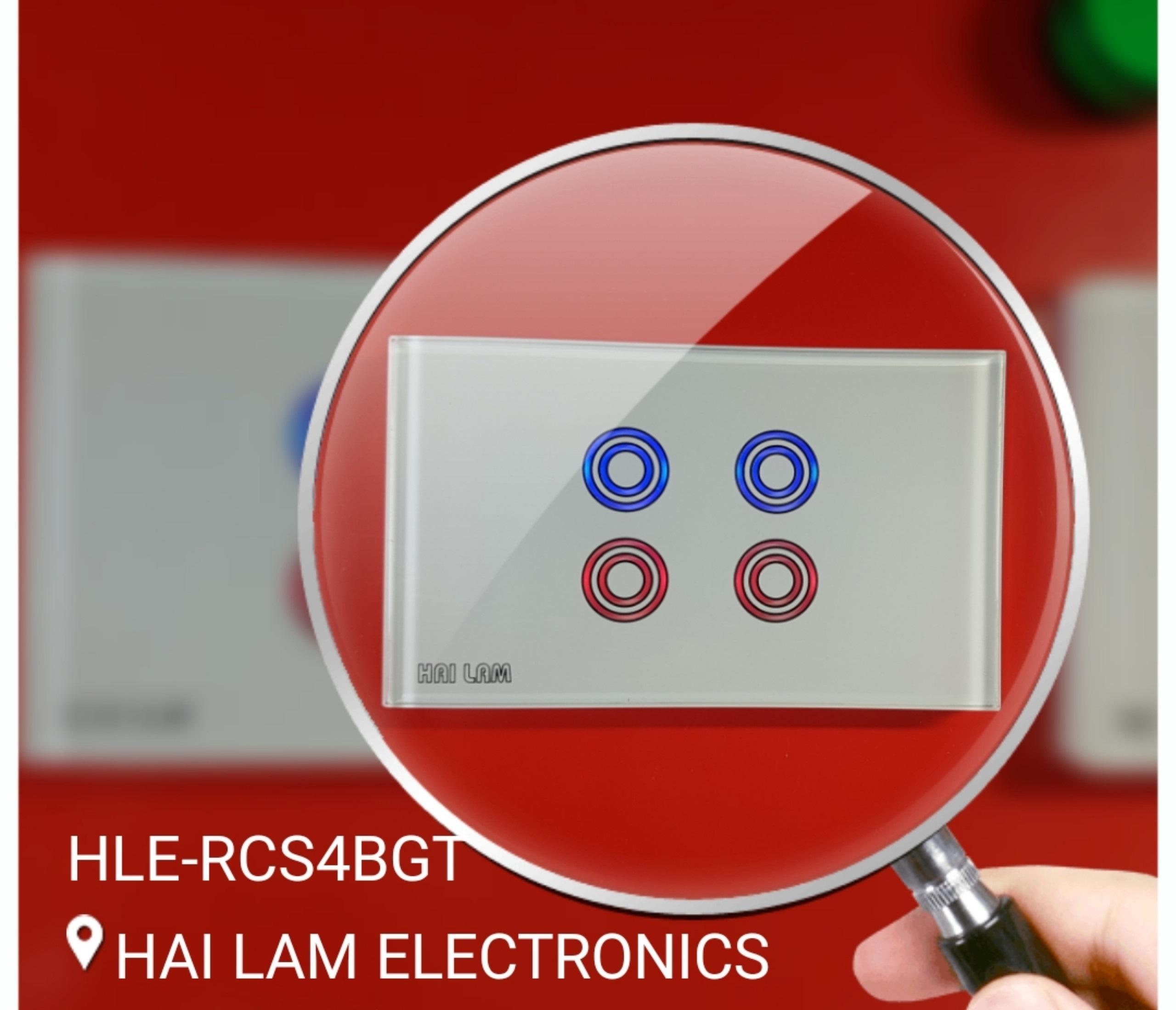 Công tắc cảm ứng âm tường điều khiển từ xa bằng tay điều khiển. Công Tắc Điện Thông Minh 4 Nút - HLE-RCS4BGT