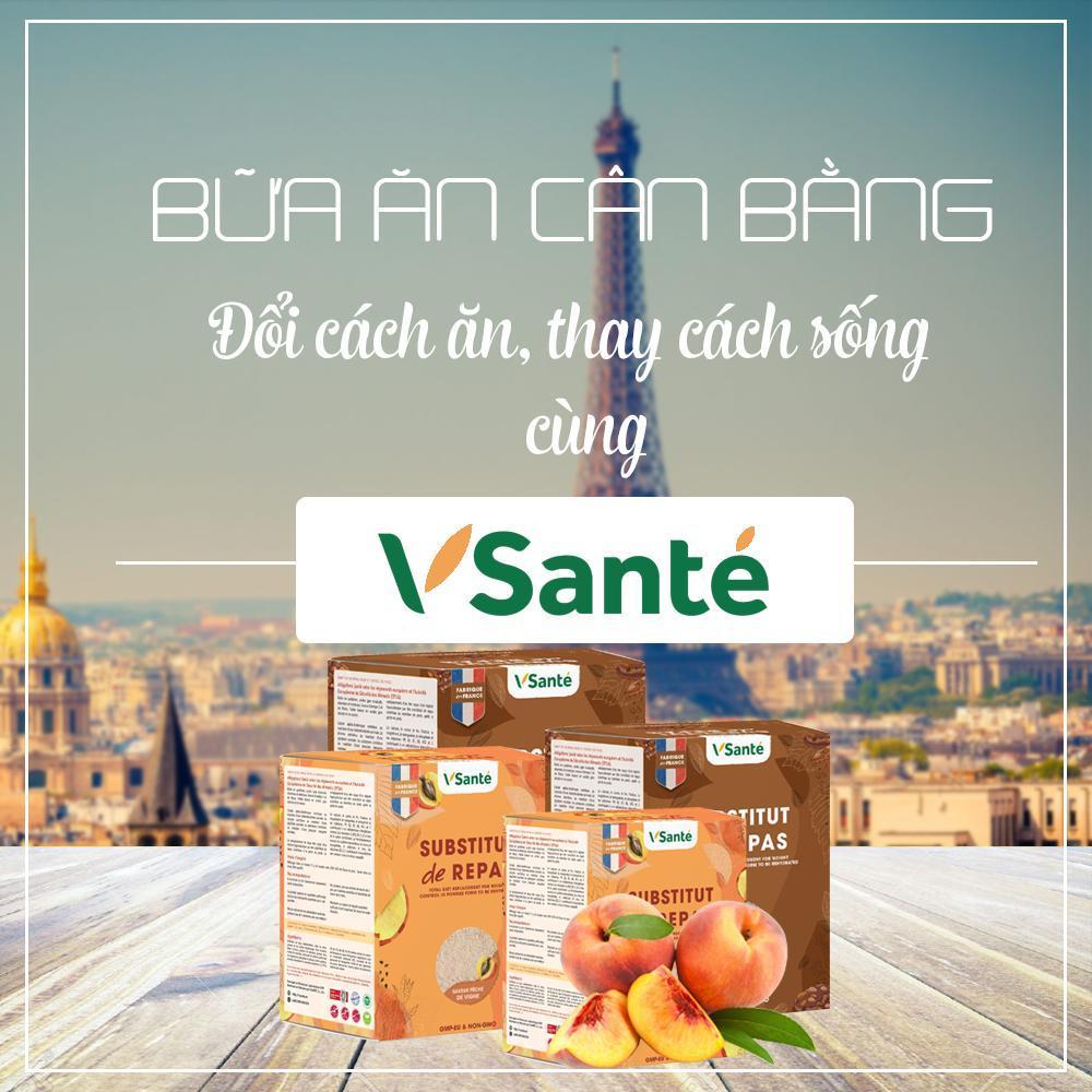 Combo 4 hộp Thực phẩm giảm cân [ Vị Đào + Hạnh nhân ] - Thương hiệu Vsanté, Pháp + Tặng kèm bình lắc cao cấp