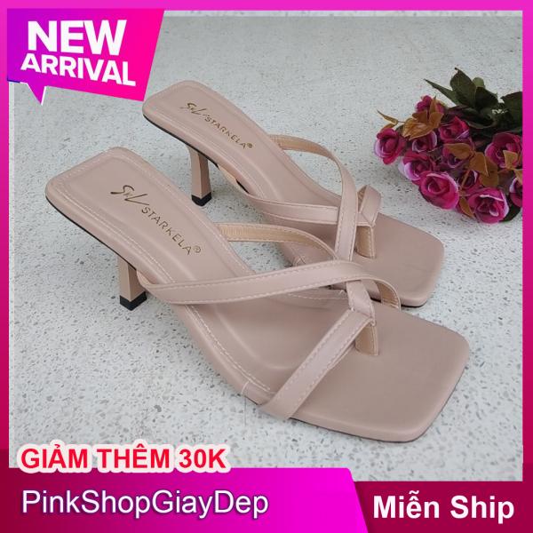 (Miễn ship) Dép cao gót 5 phân gót nhọn quai dây xỏ ngón chất liệu da DXN5P PinkShopGiayDep giày búp bê nữ cao 5 phân