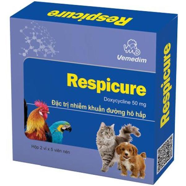 Vemedim Respicure - Thuốc trị nhiễm khuẩn đường hô hấp cho chó mèo, chim, gà đá, Respicure - Doxycycline 50mg