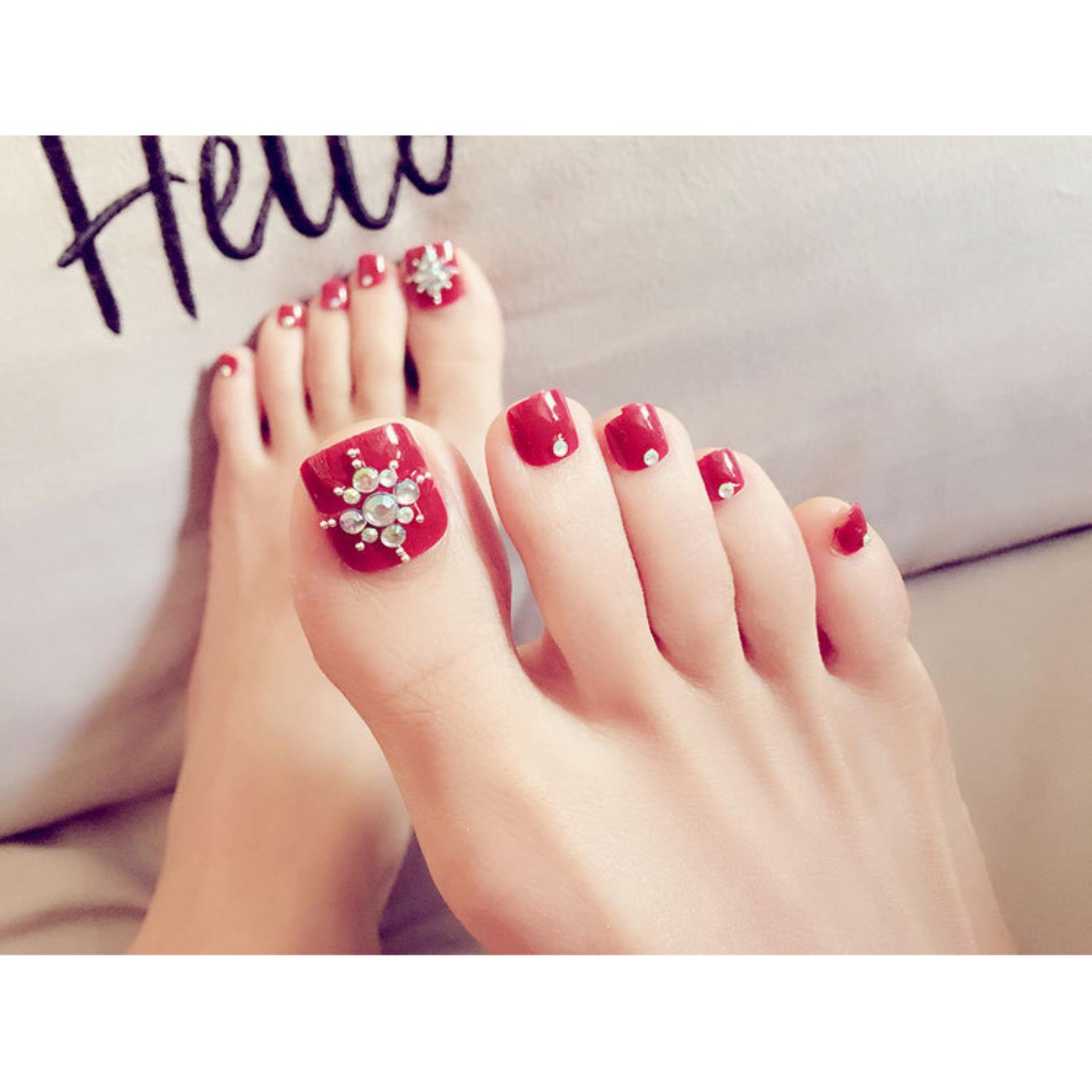 Bộ 24 móng chân giả màu đỏ đính đá ( tặng kèm keo + dán + dũa móng) cao cấp