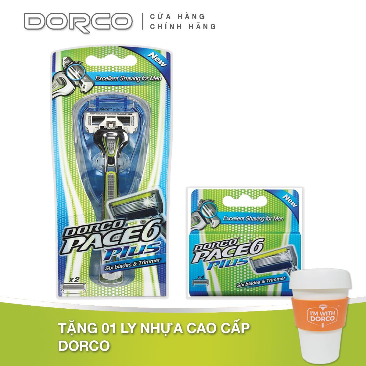 Bộ Dao cạo và Vỉ 04 đầu cạo râu 6 lưỡi DORCO PACE 6 Plus + Tặng Ly nhựa DORCO cao cấp màu ngẫu nhiên giá rẻ
