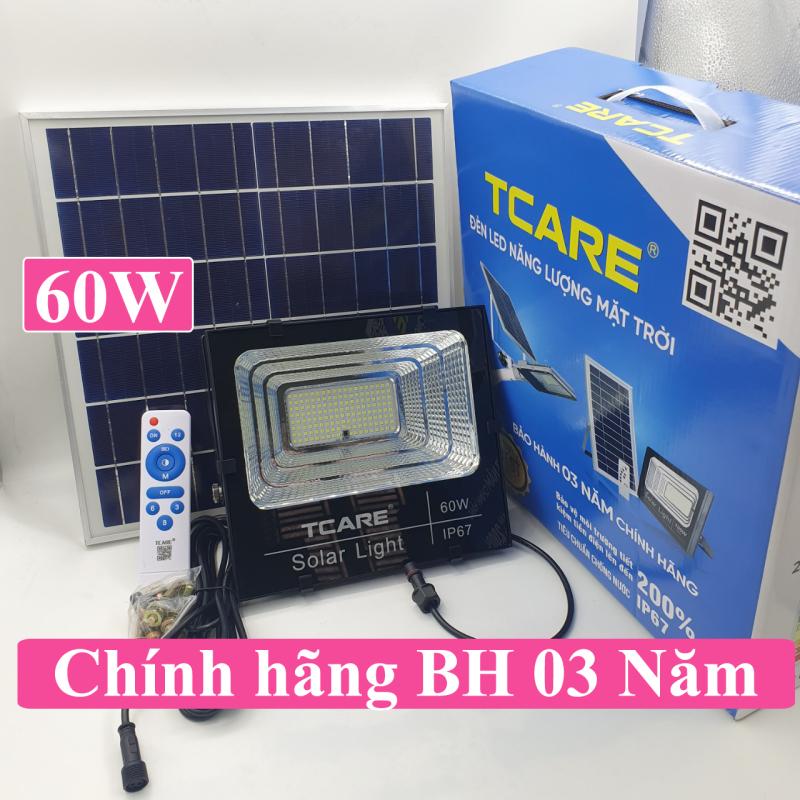 Đèn pha LED Năng lượng mặt trời 60W, đèn Led, đèn ngoài trời Tcare Bảo hành 03 Năm