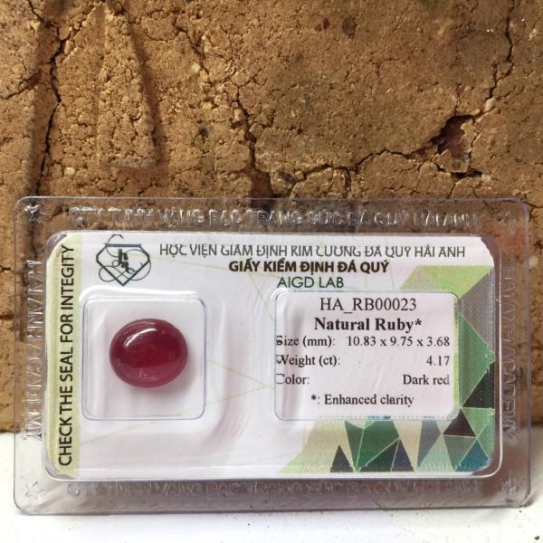 Viên đá Ruby tự nhiên - Viên rời - mài tròn/ovan cabochon - Ép vỉ niêm phong HA-G23-35