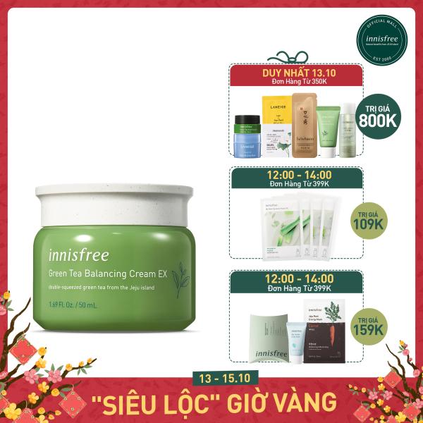 Kem dưỡng ẩm từ trà xanh đảo Jeju Innisfree Green Tea Balancing Cream EX 50ml - NEW giá rẻ