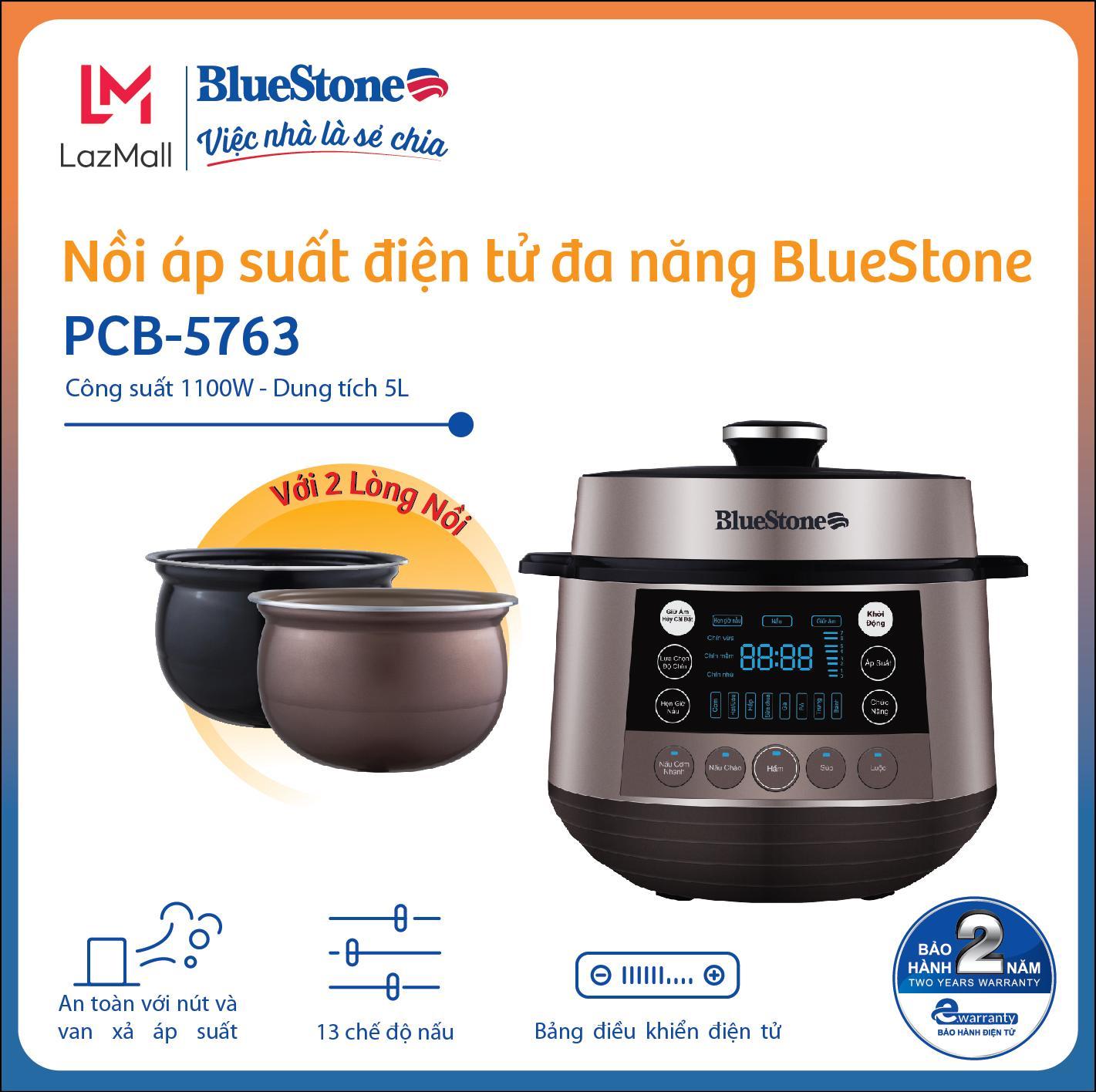 Nồi Áp Suất BlueStone PCB-5763 5L - 13 chế độ nấu bảo toàn dinh dưỡng - Công suất 1100W - Hàng Chính Hãng
