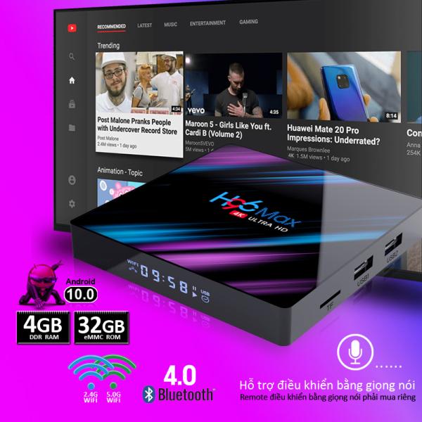 [HCM]Box tivi android Ram 4G bộ nhớ 32G android 10.0 kết nối wifi 5G android box bluetooth 4.0 hỗ trợ video 4k xem nhiều kênh truyền hình miễn phí bảo hành 12 tháng H96MAX tv box