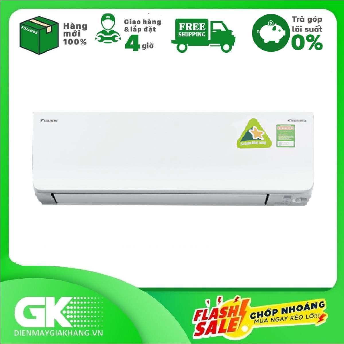 [GIAO HÀNG 2 - 15 NGÀY, TRỄ NHẤT 30.09] TRẢ GÓP 0% - Máy lạnh Daikin Inverter 1 HP FTKM25SVMV- Bảo hành 2 năm