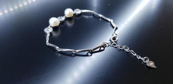 Lắc tay Ngọc trai thật Bạc 925 xi bạch kim cao cấp