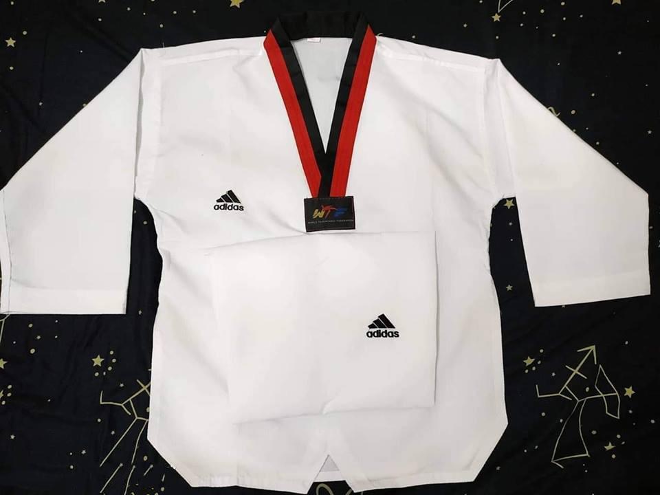 Giảm Giá Ưu Đãi Khi Mua [Flash Sale] Võ Phục Taekwondo Adidas Vải 3 Sọc Cổ đen Và Cổ Đỏ đen
