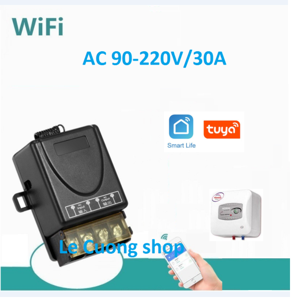 Công tắc wifi cho bình nóng lạnh,công tắc thông minh công suất lớn 220v 30A ,app Smart life,TUYA