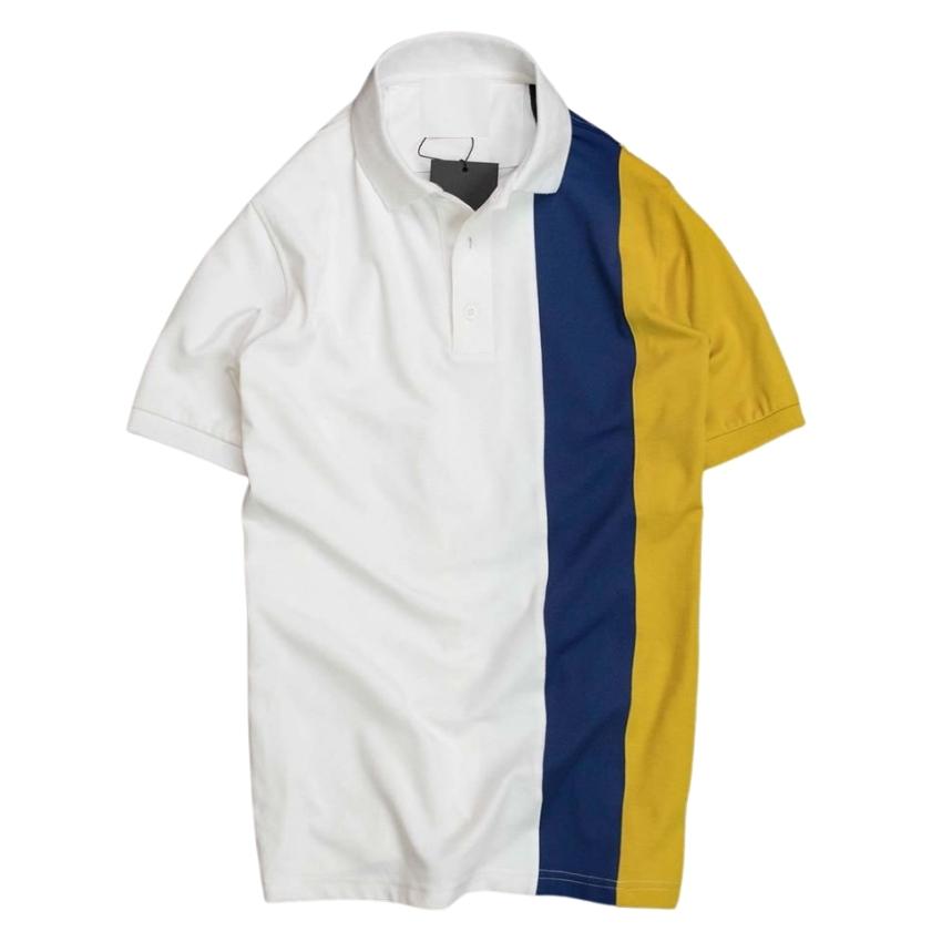 Áo thun nam ngắn tay có cổ phối màu xanh vàng thời trang cao cấp mới