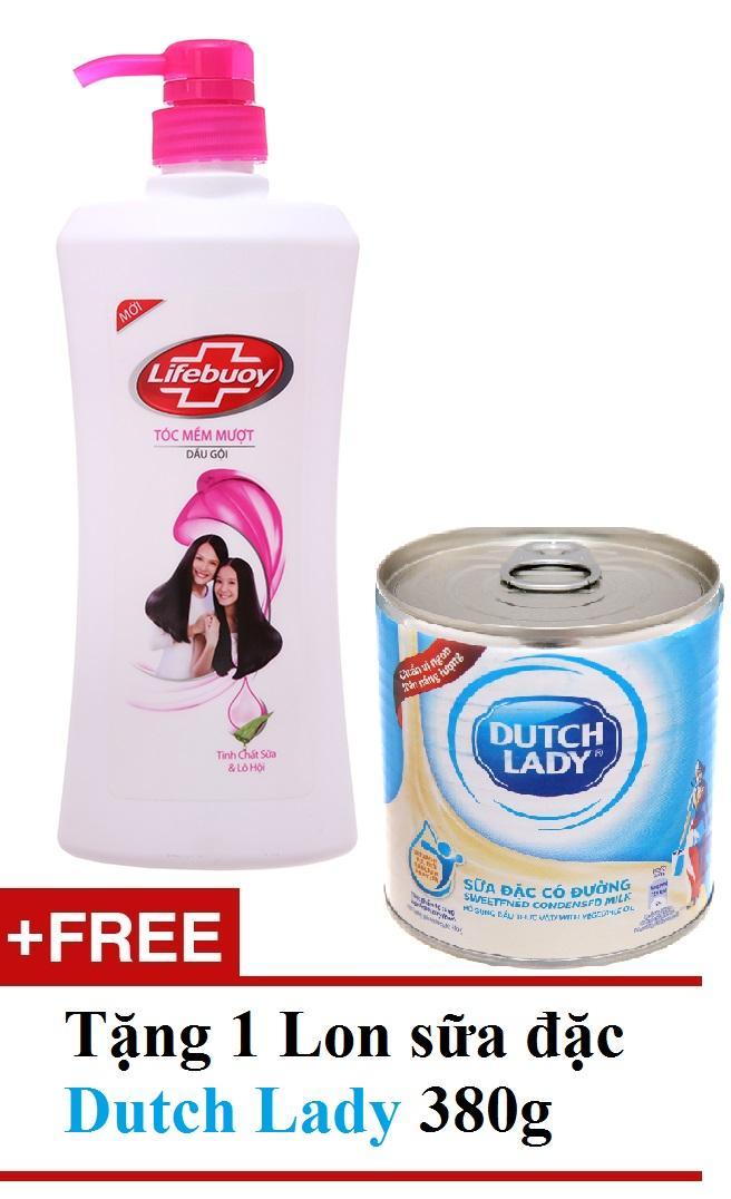 Dầu gội Lifebuoy tóc mềm mượt Hồng 640g TẶNG 1 lon sữa đặc Duch Lady 380g giá rẻ